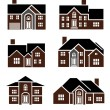 Stock Photo: Brick home icons