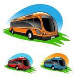 Illustration of different color bus icons — Stock Photo