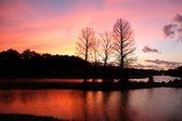 Malebná krajina v slunci nastavit čas — Stock fotografie