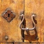 Ancient wood front door — Stock Photo