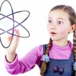 Stock Photo: Little Schoolgirl looking to universe