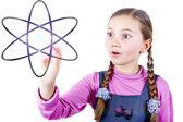 Little Schoolgirl looking to universe — Stock Photo