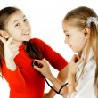 Girl friends played be a doctor — Stock Photo