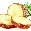Fresh slice pineapple isolated on white background — Stock Photo