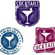 sellos de coctelería estilo vintage — Vector de stock