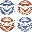 Royalty-Free Stock Vector Image: Baseball and Softball League Tournament Stamps