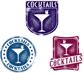 Vintage Style Cocktail Bar Stamps — Stock Vector