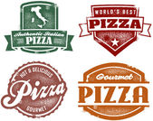 Vintage Style Pizza Stamps — Stock Vector