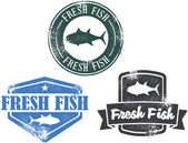 Fresh Fish Stamps — Stock Vector