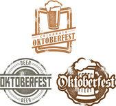 Oktoberfest Beer Stamps — Stock Vector