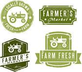 Francobolli mercato contadino stile vintage — Vettoriale Stock