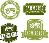 Vintage Style Farmer's Market Stamps — Stock Vector