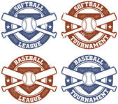 Baseball and Softball League Tournament Stamps — Stock Vector