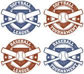 Baseball and Softball League Tournament Stamps — Stock Vector