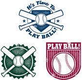 Vintage Style Baseball or Softball Stamps — Stock Vector