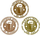 プレミアム ビール スタンプ — ストックベクタ