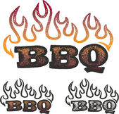 BBQ and Flames — Stock Vector