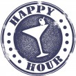 Happy Hour Cocktail Stamp - Stok Vektör