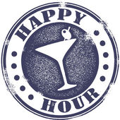 Happy Hour Cocktail Stamp — Vettoriale Stock