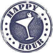 Mutlu saat kokteyl damgası — Stok Vektör