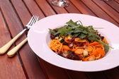 Italian spaghetti with vegetables — Stock Photo
