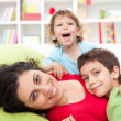 Stock Photo: Happy mother and her children - motherhood