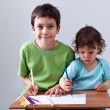 Royalty-Free Stock Photo: Little boys drawing together