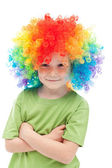 Little clown boy with colorful hair — Stock Photo