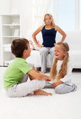 Quarreling and fighting kids — Stock Photo