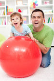 Toddler boy having fun with his father — Stock Photo