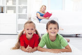 Happy healthy kids at home — Stock Photo