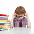 Little boy with glasses and lots of books — Stock Photo #11481511