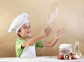Preparing the pizza dough — Stock Photo