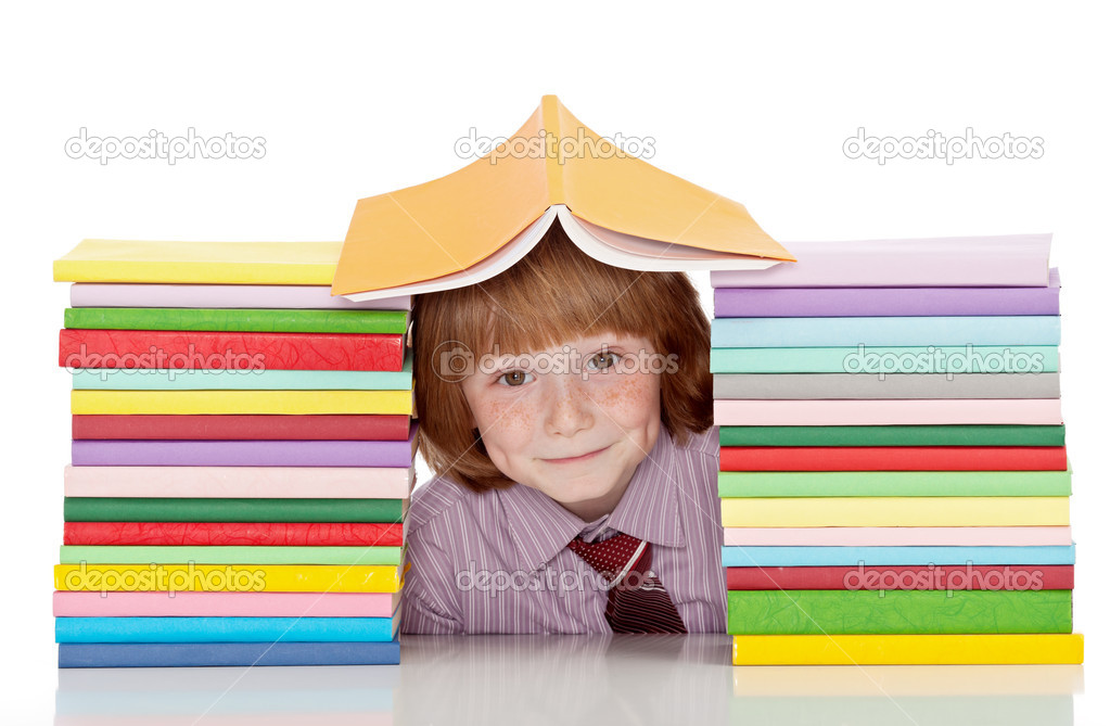 Small school boy with shirt and tie and lots of books having fun - isolated — Stock Photo #11656773