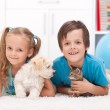 Stock Photo: Happy kids with their pets - dog and kitten