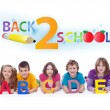 Kids with alphabet letters - back to school concept — 图库照片
