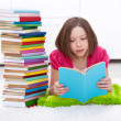 Young girl with lots of books — Stock Photo