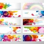 conjunto de cabeçalhos abstrato colorido web — Vetorial Stock