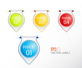 Set of phase badges with numbering. — Stock Vector