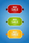 Set of colored boards with big sale sign. — Stock Vector