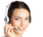 Support phone operator in headset, isolated — Stock Photo