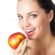 Young woman eating apple, isolated — Stock Photo #11356581