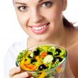 Smiling woman with salad, on white — Stock Photo #11356589