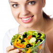 Smiling woman with salad, on white — Stock Photo