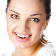Happy smiling young woman, on white — Stock Photo