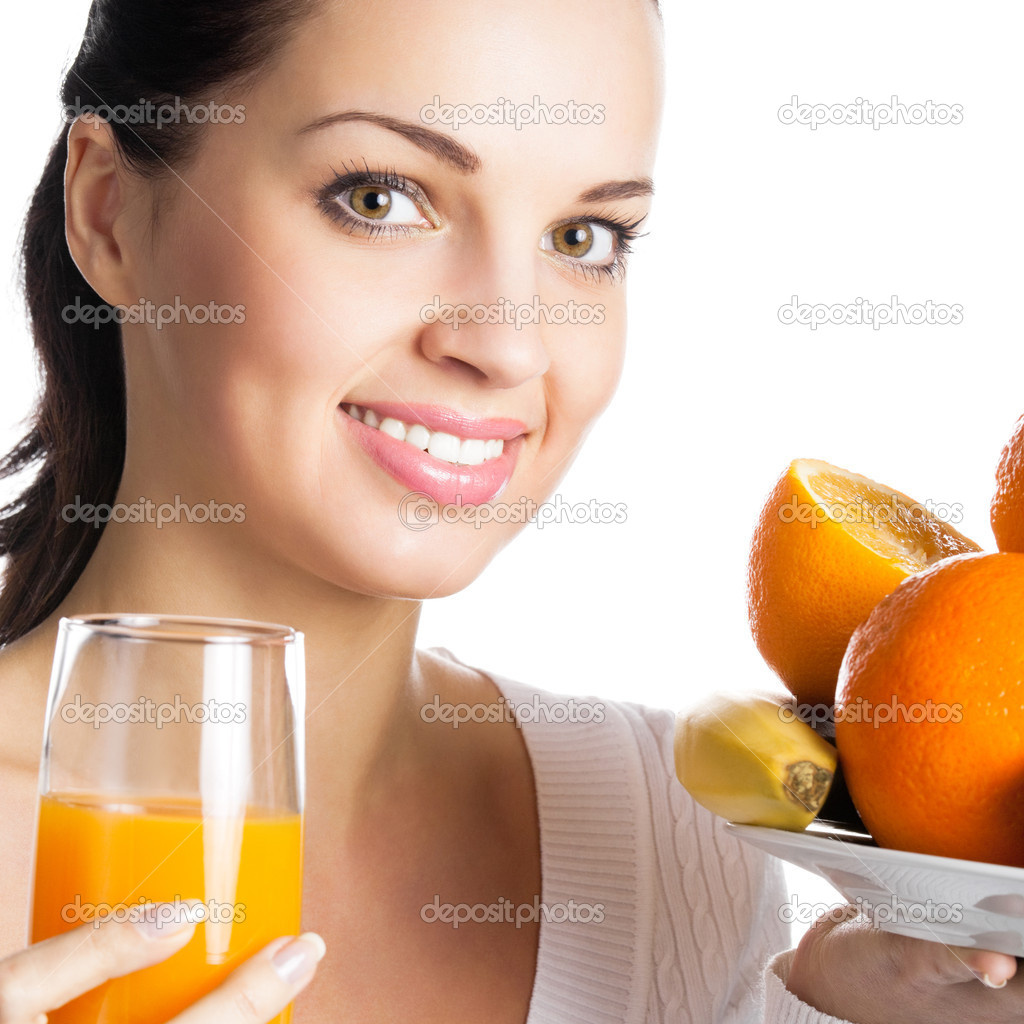 Portrait of happy smiling girl with fruits and glass of orange juice, isolated over white background — Stock Photo #11356644