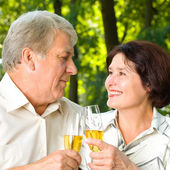 Senior couple celebrating with champagne, outdoors — Stock Photo