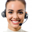 Support phone operator in headset, isolated — Stock Photo #11703171