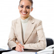 Happy smiling business woman, over white — Stock Photo #11703182