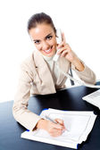 Businesswoman with phone writing, isolated — Stock Photo